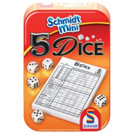 Schmidt-mini-dobbelspel-5-Dice-in-blik-(Yatzee)